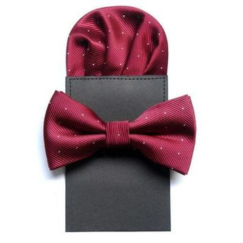 8 Colors Formal Bow Ties and Kerchief Set for Men Classical Dots Polyester Gentlemen Wedding Bowties and Pocket Squares Set