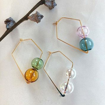 Original Design Dreamlike INS Brief Brass Double Glass Balls Square Hoop Earrings For Women 2018 Chic Bubble Korean Earrings