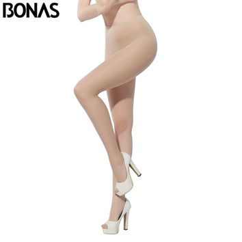 BONAS 15D Thin Pantyhose For Women Summer Style Solid Color Design Sexy Slim Cheap Tights Elastic Waist Nylons Lady
