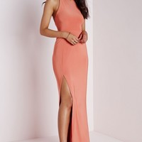 SLINKY SIDE SPLIT MAXI DRESS APRICOT