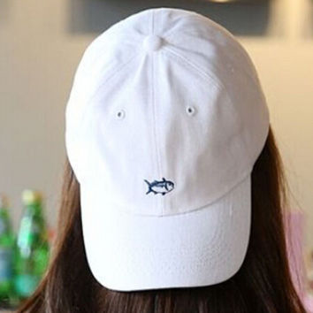 White Embroidery Fish Baseball Cap Unique Hat Summer Gift