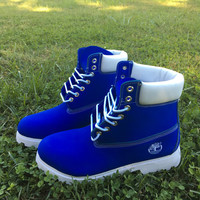 Dec 8th for Christmas** Custom Blue and white Timberlands