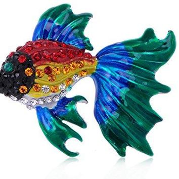 Alilang Rainbow Enamel Red Blue Green Happy Fancy Goldenfish Crystal Rhinestone Pin Brooch