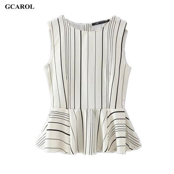 Women New Collecation OL Tops Striped Design Elegant Sleevelss Blouse Peplum Design Summer Blouse