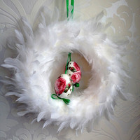 "Easter  White Feather Wreath 12"" with Ribbon and Hand Decorated Madeira Painted Decoupage Chicken Easter Egg, Home Decor, Kraslice, Pysank"