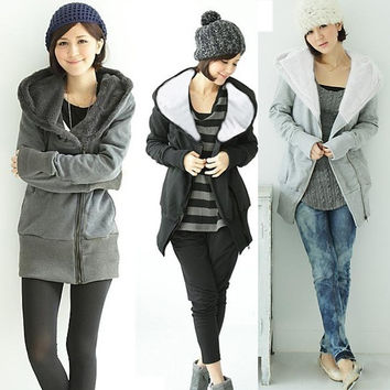 Korea Women's Zip Up Long Top Hoodie Coat Jacket Sweatshirt Outerwear Fleece  3253