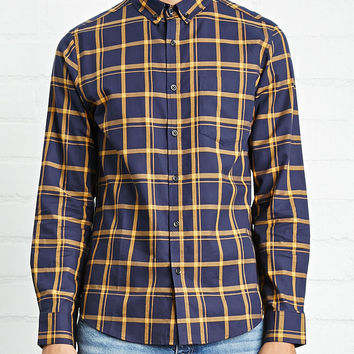 Fitted Woven Plaid Shirt