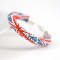 UK Flag  - Beaded Bracelet  Bead Crochet Bracelet White Blue Red Patriotic National Flag Multi-Colored  Minimalist Beadwork Jewelry Unisex