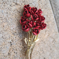 Red Roses Brooch
