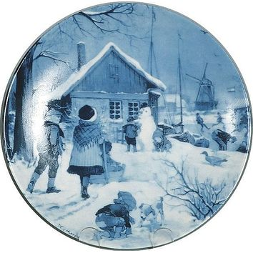 Souvenir Plate Skater with Windmill Blue