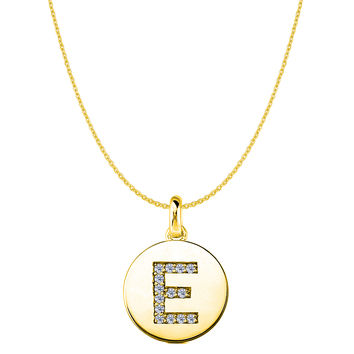 """E"" Diamond Initial 14K Yellow Gold Disk Pendant (0.14ct)"