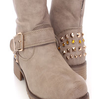 Khaki Studded Ankle Combat Boots Faux Leather