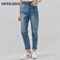 Refeeldeer High Waist Jeans Women 2017 Spring Cat Embroidery Jeans Female American Apparel Mom Boyfriend Jeans Femme Women Pants