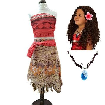 2018 Summer Moana Dress for girls Moana Princess Dresses Kids Party Cosplay Costumes With Wig Children Clothing clothes