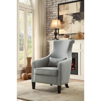 Accent Chair With Nail head Detail In Gray Fabric