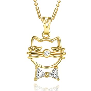 Wise Kitty Cat Cute Bow Good Luck Charm Amulet Gold-Tone White Sparkling Crystals 18 Inch Necklace