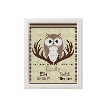 Owl cross stitch baby birth announcement cross stitch pattern funny new baby girl personalized woodland animal