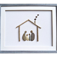 New home housewarming gift, Pebble art family of four, Driftwood art, Christmas gift idea for family, Framed wall art, Anniversary present