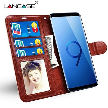 LANCASE Wallet Case for Samsung Galaxy S9 Case Luxury Leather Silicone Flip Card Slots Cover for Samsung S9 Plus Phone Bags Capa