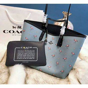 COACH Popular Women Shopping Leather Handbag Shoulder Bag Cosmetic Bag Two Piece Set