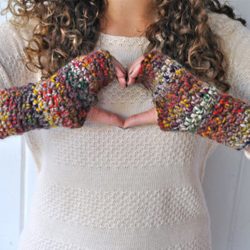 Textured Crochet Fingerless Gloves - Wristlets - Arm Warmers - 100% Wool