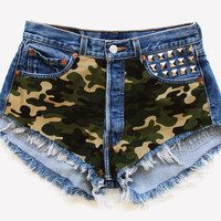 Army Babe Vintage Camo Studded Shorts