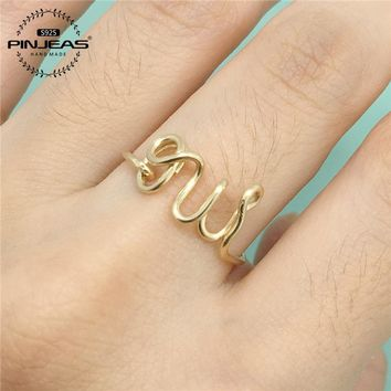 PINJEAS Oui Ring handmade Sterling/ / Wire Wrap Filled French Word Bride Girlfriend Gift anneau Simple Wedding Jewelry