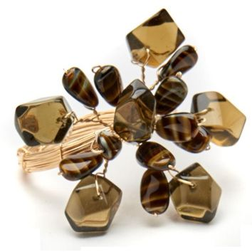Mixed Stone Burst Napkin ring - S/4 Brown