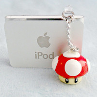 Super Mario Mushroom 1-Up Dust Plug, Cell Phone Charm, or Necklace :D