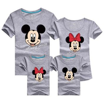 CREYL Mickey Cartoon Family Matching T Shirt Female Male Shirt Short Sleeve Matching Clothes Cotton Family Outfits Set Tees Top DC53