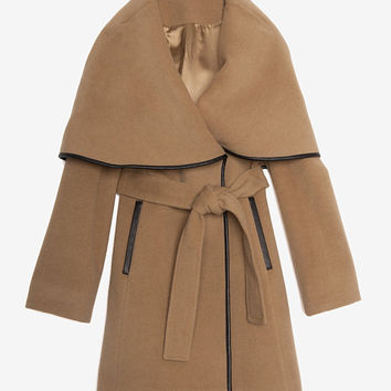 PREORDER Menchi for Intermix Leather Trim Belted Wrap Coat-Menchi for Intermix-Designers-Categories- IntermixOnline.com