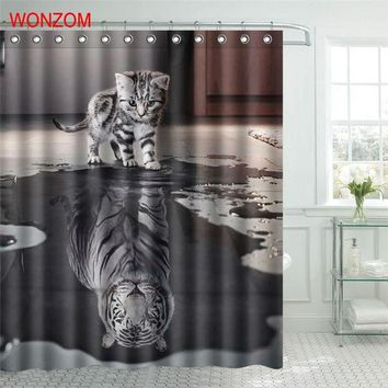 WONZOM Polyester Fabric Tiger Cat Shower Curtain - Waterproof With 12 Hooks