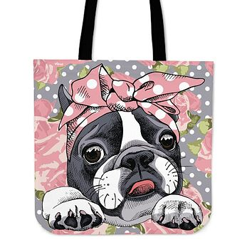 Floral Boston Terrier Pink Linen Tote Bag