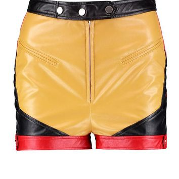 Kelly PU Contrast Panel High Wait Shorts | Boohoo