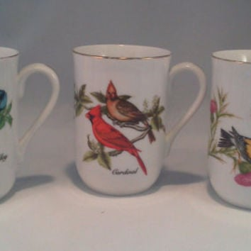 Mugs, Cups, Vintage John James Audubon White Porcelain Coffee Mug, Blue Jay, Goldfinch, Cardinal
