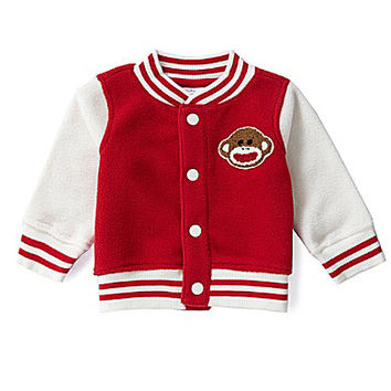 Baby Starters 3-12 Months Sock Monkey Varsity Microfleece Jacket - Red