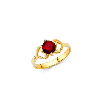Hearts Birthstone Baby Ring - 14K Solid Yellow Gold