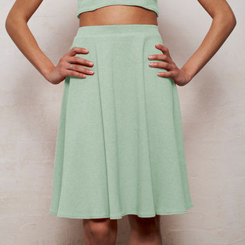 High Waisted Floaty Skater Skirt in Pastel Mint Green