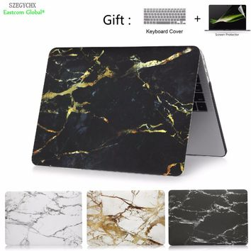 Marble Texture Laptop Case For MacBook Air 11 13 inch For Mac book Pro with Retina 12 13.3 15 Screen Protector+keyboard cover