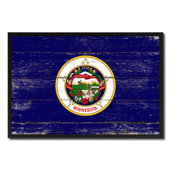 Minnesota State Flag Vintage Canvas Print with Black Picture Frame Home DecorWall Art Collectible Decoration Artwork Gifts