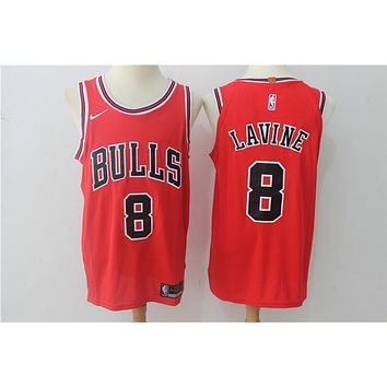 NBA Authentic Basketball Player Jerseys Chicago Bulls # 8 Zach LaVine Red