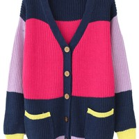 Beautiful Color Blocked Knit Cardigan - OASAP.com