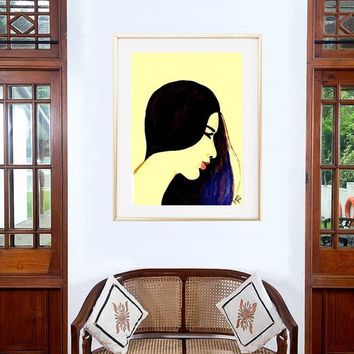 Woman face sketch watercolor painting wall art print poster decor fashion makeup illustration abstract portrait teen girl drawing teen gift