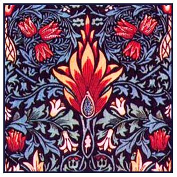 Snakehead detail in Navy and Reds by William Morris Design Counted Cross Stitch or Counted Needlepoint Pattern