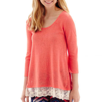 Arizona Lace Hem Hacci Tunic - JCPenney