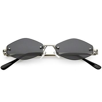 Extreme Small Geometric Rimless Sunglasses Neutral Colored Lens 52mm