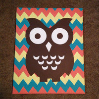 Owl with Chevron Background Canvas Painting