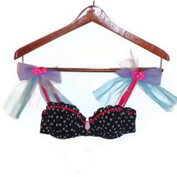 34A Black and White Polka Dot Tulle Cotton Candy Dream Decorated Bra