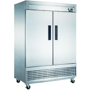 Commercial Kitchen 2 Door Reach-In Refrigerator 55""