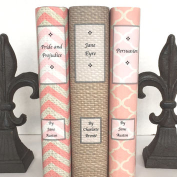 Book set - vintage books - decorative books - custom book jackets - coral colors - personalized gift  - wrapped in twine